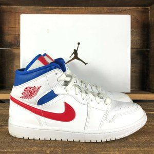 Jordan Mens Retro 1 Mid USA White Sneakers 9.5